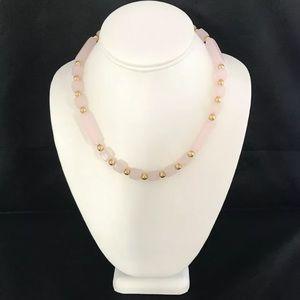 Vintage Trifari Necklace Simulated Rose Quartz 4Q